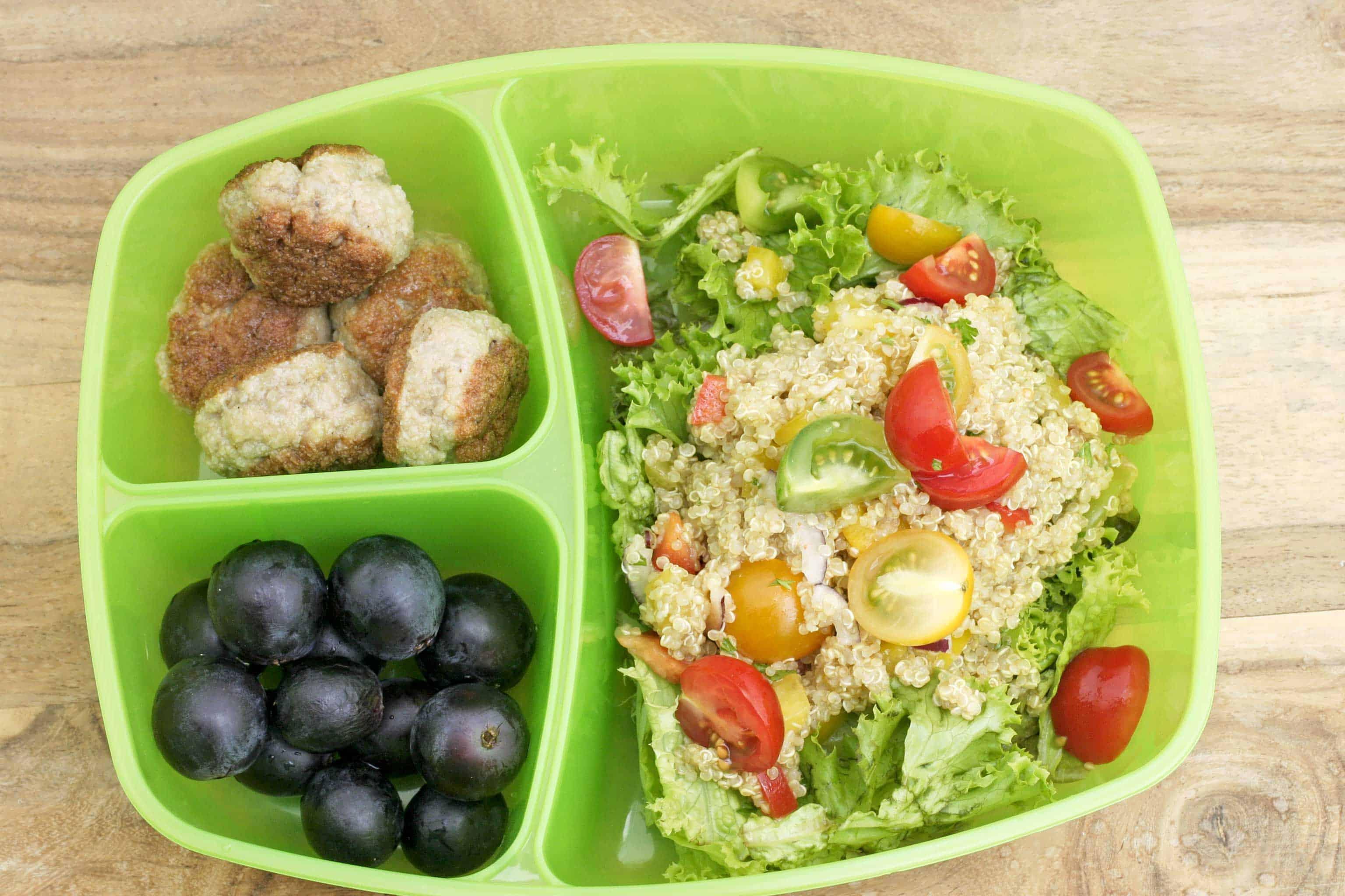 lunch salade met quinoa en balletjes keukenrevolutie foodblog. Black Bedroom Furniture Sets. Home Design Ideas